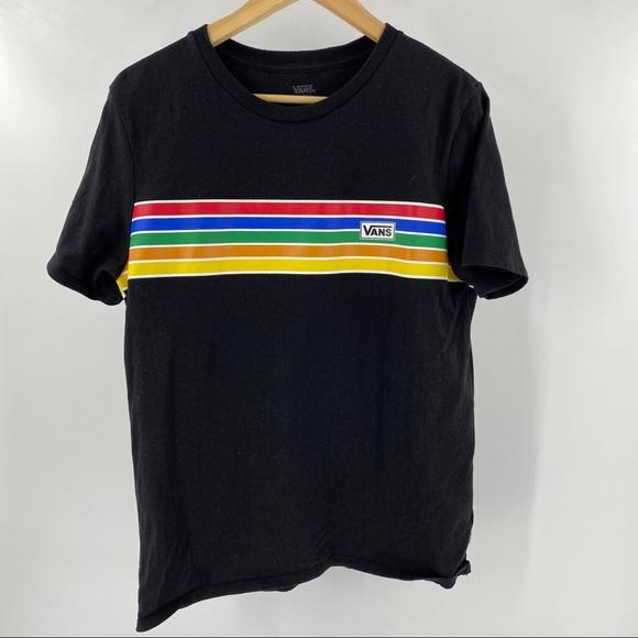 Van's rainbow graphic tee black short sleeve